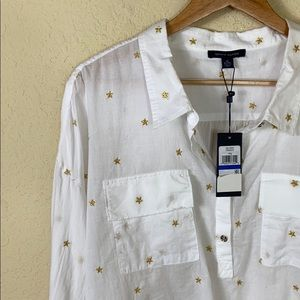 NWT Tommy Hilfiger gold star white popover top XL